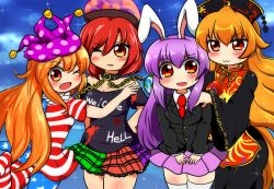4girls :3 american_flag_legwear american_flag_shirt animal_ears animal_print arm_behind_back bangs black_dress black_shirt blazer blonde_hair blue_sky blush breasts bunny_ears chinese_clothes cleavage clothes_writing cloud clownpiece collar collared_shirt cowboy_shot dress earth_(ornament) frilled_skirt frills gold_chain hand_on_another's_shoulder hand_on_hip hat heart heart-shaped_pupils hecatia_lapislazuli jester_cap junko_(touhou) leg_up long_hair long_sleeves motsu_(selshia12) multicolored_skirt multiple_girls necktie off-shoulder_shirt one_eye_closed open_mouth parted_lips purple_skirt red_hair red_necktie reisen_udongein_inaba ribbon shirt short_hair short_sleeves sidelocks skirt sky sparkle sweatdrop symbol-shaped_pupils tabard thighhighs thighs touhou very_long_hair white_legwear white_shirt wide_sleeves zettai_ryouiki