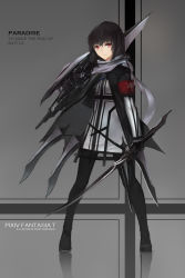 1girl black_hair cross dual_wielding gradient_background highres long_hair original pixiv_fantasia pixiv_fantasia_t red_eyes scarf solo striped_background swd3e2 sword weapon