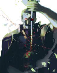 1boy black_hair facial_hair fullmetal_alchemist king_bradley mustache red_eyes sword uniform weapon wrath zwollowz
