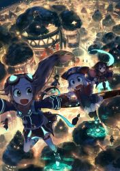 6+girls animal_hat black_eyes black_legwear blue_eyes blurry blush braid bridge brown_hair building capelet city city_lights cityscape crystal dark depth_of_field dome fantasy fisheye flying foreshortening from_above gloves glowing goggles goggles_on_head green_eyes hand_holding happy hat highres horizon katou_tabihito long_hair looking_at_another looking_back looking_up low-tied_long_hair multiple_girls night no_nose open_mouth original outstretched_arms pink_hair rachel_(seisou_fude_no_tabibito) robe running scared scenery seisou_fude_no_tabibito short_hair silver_hair skirt surprised sweatdrop thighhighs tree twin_braids white_legwear zettai_ryouiki