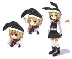 1girl alternate_headwear animal_ears animal_hat blonde_hair boots bunny_ears carrot eating fake_animal_ears harusame_(unmei_no_ikasumi) hat long_sleeves lunasa_prismriver shirt short_hair simple_background skirt skirt_set socks tears text touhou trembling vest white_background white_legwear yellow_eyes