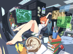 1girl armpits azusa_(pokemon) barefoot bed binder_clip blanket book book_stack bookmark bookshelf breasts chair claws coffee coffee_mug computer computer_keyboard computer_mouse computer_screen computer_tower crumpled_paper cup desk dual_monitor eraser eyes_closed feet feet_on_table floating_screen fluorescent_lamp foreshortening graph jacket jacket_removed laptop legs_crossed linoone looking_at_viewer map md5_mismatch messy_room monitor office_chair one_eye_closed open_book orange_eyes orange_hair paper paperclip pen pencil piggy_bank pikachu pillow plant poke_ball poke_ball_print pokemon pokemon_(game) potted_plant rattata reclining revision ruler sandals sandals_removed server shiny shiny_hair short_hair sitting sleeping sleeveless slippers steam stretch substitute sweater tablet_pc tm_(hanamakisan) toenails toes waveform world_map