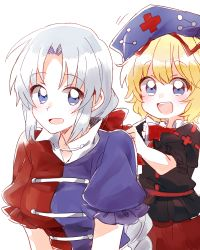2girls :d blonde_hair commentary_request constellation hat headwear_removed medicine_melancholy multiple_girls nurse_cap open_mouth puffy_short_sleeves puffy_sleeves red_cross ribbon short_sleeves silver_hair simple_background six_(fnrptal1010) smile touhou trigram white_background yagokoro_eirin