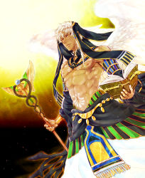 1boy abs book dark_skin feathered_wings hair_ornament highres jewelry kamigami_no_asobi male_focus mtk-rikw navel necklace orange_eyes shirtless solo staff tattoo thoth_caduceus tiara veil white_hair wings