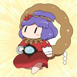 1girl blush chibi hair_ornament highres mirror purple_hair rope shimenawa shirosato solo touhou yasaka_kanako |_|