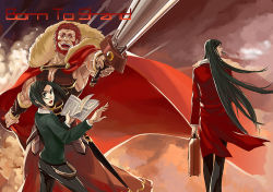 3boys armor beard black_hair book cape dual_persona facial_hair fate/zero fate_(series) green_eyes green_hair jacket long_coat long_hair lord_el-melloi_ii multiple_boys red_eyes red_hair red_jacket rider_(fate/zero) suitcase sword waver_velvet weapon wirttian