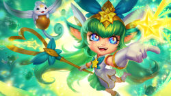 1girl alternate_costume alternate_hairstyle blue_eyes boots dress facial_mark fang flat_chest forehead_mark gloves green_hair highres league_of_legends long_hair lulu_(league_of_legends) magical_girl official_art solo sparkle staff star star_guardian_lulu tiara very_long_hair white_dress white_gloves yordle