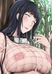 1boy 1girl _stocking areolae black_hair blush breasts censored cleavage clothing cum cum_in_mouth cum_on_body cum_on_breasts cum_on_clothes cum_on_upper_body erect_nipples female fishnets functionally_nude ggli_(yuine_wantan) hyuuga_hinata large_breasts lips long_hair looking_at_viewer mesh naruto nipples penis satisfied silver_eyes smile upper_body