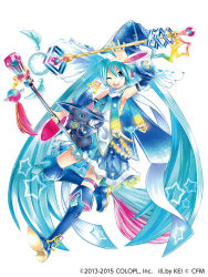 1girl ;) alternate_costume aqua_eyes aqua_hair cat collaboration hat hatsune_miku kei_(keigarou) long_hair magical_girl magician_wiz_(game) one_eye_closed smile solo tagme very_long_hair vocaloid white_background witch_hat