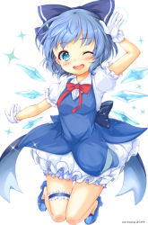 1girl bangs bloomers blue_bow blue_dress blue_eyes blue_hair blue_shoes blush bow bowtie cirno commentary_request dress gloves hair_bow high_heels highres ice ice_wings kawasumi leg_garter looking_at_viewer one_eye_closed open_mouth paragasu_(parags112) red_bow red_bowtie salute shoes short_hair simple_background smile solo sparkle teeth touhou underwear white_background white_gloves wings
