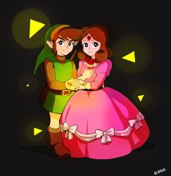 1boy 1girl artist_name black_background black_eyes blanko! boots bright_pupils brown_hair circlet dress glowing hand_holding hat highres link pointy_ears princess_zelda simple_background smile the_legend_of_zelda the_legend_of_zelda_(nes) triforce tunic