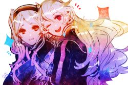 embarrassed female_my_unit_(fire_emblem:_kakusei) female_my_unit_(fire_emblem_if) fire_emblem fire_emblem:_kakusei fire_emblem_if hug long_hair lowres lumicakes my_unit_(fire_emblem:_kakusei) my_unit_(fire_emblem_if) one_eye_closed red_eyes silver_hair smile twintails