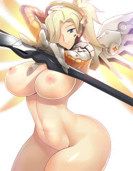 1girl areolae arm_up blonde_hair blue_eyes breasts curvy erect_nipples haganef hair_over_one_eye highres huge_breasts large_breasts light_smile long_hair looking_at_viewer mechanical_halo mechanical_wings mercy_(overwatch) nipples overwatch simple_background smile solo staff thick_thighs thighs white_background wide_hips wings