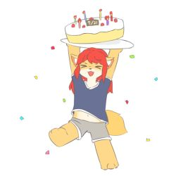 artist_request birthday_cake fox furry happy_birthday open_mouth red_hair short_hair smile