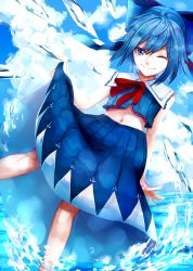 1girl adapted_costume blue blue_eyes blue_hair blue_sky cirno cloud hair_ribbon highres ice ice_wings looking_at_viewer navel neck_ribbon one_eye_closed ribbon sailor_collar short_hair skirt sky smile sofy solo touhou water wings