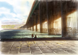 1boy 1girl bridge facing_away floating_hair from_behind grass highres original outdoors river riverbank scenery shadow sky sunlight yokoya