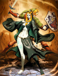 1boy 1girl back-to-back barefoot blonde_hair blue_eyes front_ponytail genzoman hood link long_hair master_sword midna midna_(true) orange_hair pointy_ears revision shield slender spoilers sword the_legend_of_zelda the_legend_of_zelda:_twilight_princess weapon