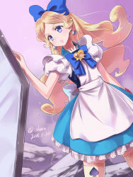 1girl 2015 adapted_costume alice_(wonderland) alice_(wonderland)_(cosplay) alice_in_wonderland alternate_costume apron bangs blonde_hair blue_dress blue_eyes bow closed_mouth cosplay crossover cure_continental dated dress dutch_angle earrings frilled_dress frilled_legwear frilled_skirt frilled_sleeves frills frown hair_bow hair_ribbon happinesscharge_precure! heart highres isedaichi_ken jewelry long_hair magical_girl parted_bangs ponytail precure puffy_short_sleeves puffy_sleeves ribbon serious short_sleeves skirt solo spade thighhighs twitter_username updo wavy_hair white_legwear wrist_cuffs wristband zettai_ryouiki
