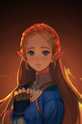 1girl blonde_hair blue_eyes blush long_hair looking_at_viewer mimme_(haenakk7) pointy_ears princess_zelda solo tears the_legend_of_zelda the_legend_of_zelda:_breath_of_the_wild