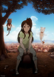 1girl brown_eyes brown_hair cat city cloud collar full_body neckerchief one_side_up original rock sbel02 shade short_over_long_sleeves sitting sky smile tree wings