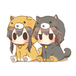 2girls akagi_(kantai_collection) animal_costume bangs black_hair brown_hair chibi dog_costume jitome kaga_(kantai_collection) kantai_collection lowres multiple_girls rebecca_(keinelove) simple_background sitting solid_circle_eyes solid_oval_eyes white_background
