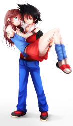 1boy 1girl :d black_hair black_shirt blue_(pokemon) blue_eyes blue_shirt blue_socks blush brown_hair holding jacket jeans pokemon pokemon_special princess_carry red_(pokemon) red_eyes red_jacket red_skirt smile wristbands