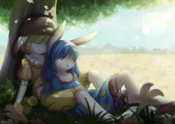 2girls absurdres against_tree animal_ears baggy_shorts blonde_hair blue_dress blue_hair blue_sky bunny_ears cloud collarbone dappled_sunlight dior-zi dress eyes_closed flower hat highres house lap_pillow lens_flare multiple_girls open_mouth ringo_(touhou) seiran_(touhou) shirt sitting sky sleeping smile sunlight touhou tree yuri