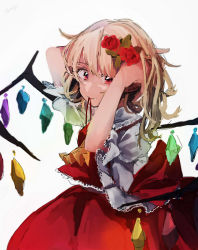 1girl arms_up ascot blonde_hair cowboy_shot crystal fangs flandre_scarlet flower frills from_side hair_flower hair_ornament hair_tie hairdressing hands_in_hair hat hat_removed headwear_removed highres looking_at_viewer mouth_hold puffy_short_sleeves puffy_sleeves red_eyes shirt short_sleeves side_ponytail sketch skirt skirt_set solo touhou tyatya_(tyatya333) tying_hair wing_collar wings