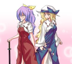 2girls :o blonde_hair dress dress_grab gradient_background hair_ribbon hat hat_ribbon katana long_hair long_sleeves multiple_girls ponytail puffy_short_sleeves puffy_sleeves purple_hair ribbon shamisen_(syami_sen) sheath sheathed short_sleeves sword touhou very_long_hair watatsuki_no_toyohime watatsuki_no_yorihime weapon wing_collar yellow_eyes