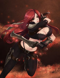 1girl breasts cleavage erect_nipples gloves green_eyes highres katarina_du_couteau knife large_breasts league_of_legends leather leather_gloves leather_jacket leather_pants long_hair midriff pants red_hair scar seiryuu_zaiten tagme