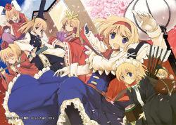 alice_margatroid blonde_hair character_request cosplay hakurei_reimu_(cosplay) izayoi_sakuya_(cosplay) kirisame_marisa_(cosplay) mieharu multiple_girls pantyhose reisen_udongein_inaba_(cosplay) touhou