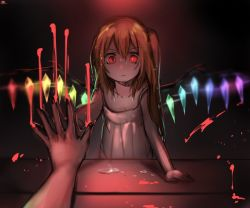 1girl alternate_costume blonde_hair blood bloody_hand blurry collarbone commentary dark eyebrows_visible_through_hair female_pov flandre_scarlet gem glowing looking_at_mirror mirror no_hat no_headwear pov red_eyes reflection side_ponytail sketch slit_pupils solo tears tis_(shan0x0shan) touhou wings