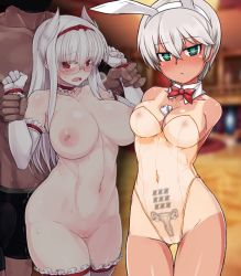 1boy 1girl amputee animal_ears bare_legs bare_shoulders bowtie breasts bunny_girl bunnysuit cleavage detatched_collar elbow_gloves glasses highleg inverted_nipples large_breasts long_hair nude null_(nyanpyoun) pussy see-through short_hair silver_hair tan tanline tattoo thigh_gap thighhighs transparent_clothing white_gloves white_hair white_legwear