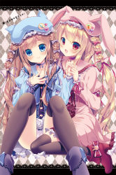 2girls animal_hat argyle argyle_background badge bangs beret black_legwear blonde_hair blue_dress blue_eyes blush boots braid brown_hair bunny_hat button_badge cat_hat closed_mouth collar collarbone dress eyebrows_visible_through_hair hair_ribbon hand_holding hand_on_own_chest hands_together hat heart highres lace_background long_hair looking_at_another looking_at_viewer mizuki_yuuma multiple_girls original over-kneehighs pink_dress purple_boots purple_ribbon red_boots red_eyes red_ribbon ribbon sailor_collar sailor_dress sidelocks sitting smile thighhighs tied_hair very_long_hair wariza