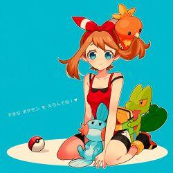bandanna bare_shoulders bike_shorts blue_eyes brown_hair haruka_(pokemon)_(remake) kneeling mudkip nns146 poke_ball pokemon pokemon_(game) pokemon_oras torchic translation_request treecko