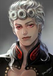 1boy earrings giorno_giovanna gradient_background grey_hair higurehiiro jewelry jojo_no_kimyou_na_bouken long_hair male_focus portrait red_eyes smile solo twitter_username