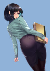 1girl :o absurdres ass bangs black-framed_eyewear black-framed_glasses black_hair black_legwear blue_background blue_hair blush book brown_eyes dress_shirt eyebrows eyebrows_visible_through_hair folder formal from_behind glasses green_shirt highres holding holding_book kagematsuri legs_together long_sleeves looking_back multicolored_hair note original pantyhose paper pencil_skirt round_teeth shirt simple_background skirt solo teeth two-tone_hair visible_ears
