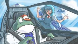1girl against_glass blue_eyes blue_hair bow cirno frog hair_bow hat highres pilot piloting profitshame slippy_toad snowflakes star_fox steam touhou wings