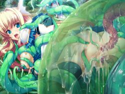 ass black_gloves black_legwear black_thighhighs blonde_hair blue_eyes breasts censored cum cum_in_ass cum_in_pussy double_penetration female fingerless_gloves frills game_cg gloves hair_ornament long_hair lusterise monsters_raid nipples open_mouth pussy saliva serika_norutoria tentacle thighhighs wet
