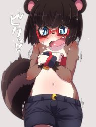 artist_request black_hair blue_eyes covering_breasts furry galsses open_mouth raccoon scared shirtless
