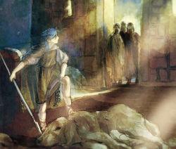 blue_hair celtic_mythology cu_chulainn dog fate/stay_night fate_(series) fine_art_parody goldfish_(artist) irish_mythology parody polearm ponytail robe spear weapon younger