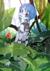 1girl absurdres artist_name blue_hair blue_skin dancho_(dancyo) dated facial_mark frog frog_girl from_behind head_tilt highres leaf looking_at_viewer looking_back monster_girl nature nude open_mouth original outdoors solo standing water wet yellow_eyes