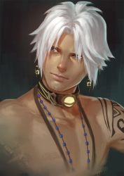 1boy blue_eyes collar dark_skin earrings facial_hair final_fantasy final_fantasy_xiv highres hyur jewelry looking_to_the_side male_focus shirtless skyfiss solo stubble tattoo thancred upper_body white_hair