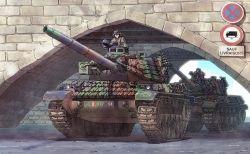 2boys amx_30b boy bridge earasensha ground_vehicle military military_vehicle motor_vehicle multiple_boys original real_life sign tank tank_turret