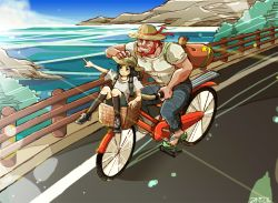 2boys alternate_costume backpack bag beard bicycle black_hair black_legwear cronucia denim eyes_closed facial_hair fate/zero fate_(series) grin hand_on_another's_head hat hat_ribbon height_difference jeans kneehighs knees_together_feet_apart male_focus multiple_boys no_socks ocean open_mouth outdoors pants pointing railing red_hair ribbon rider_(fate/zero) riding road sandals shirt shoes shorts signature sky smile sneakers straw_hat sun_hat sunlight t-shirt waver_velvet white_shirt