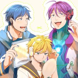 3boys ahoge alternate_hair_length alternate_hairstyle blonde_hair blue_eyes blue_hair creamyya dotted_line headset highres kagamine_len kaito kamui_gakupo male_focus mirror multiple_boys nail_polish purple_hair scarf scissors short_hair simple_background smile vocaloid yellow_background yellow_nails