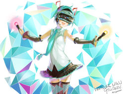 1girl :d anniversary aqua_hair artist_name character_name daigoman detached_sleeves hatsune_miku necktie open_mouth outstretched_arms skirt smile solo spread_arms thighhighs twintails virtual_reality vocaloid