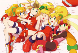 00s 5girls ^_^ android artist_request blonde_hair blue_eyes boots dress eyes_closed flat_chest gloves green_eyes hair_ribbon helmet highres knee_boots long_hair multiple_girls official_art open_mouth pantyhose ponytail red_shorts red_skirt ribbon rockman rockman_(classic) rockman_dash rockman_exe rockman_rockman roll roll_caskett roll_exe shorts skirt smile upscaled