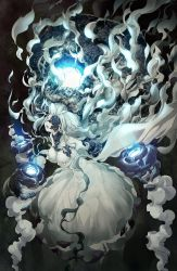 1girl abyssal_jellyfish_hime aka_ringo breasts cleavage collar commentary_request dark_background dress floating floating_hair glowing grey_eyes hat highres kantai_collection large_breasts long_hair long_sleeves off_shoulder one_eye_covered open_mouth outstretched_arms shinkaisei-kan solo spread_arms strapless strapless_dress underwater white_hair wide_sleeves