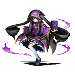 1girl absurdly_long_hair black_hair black_skirt divine_gate full_body hood long_hair looking_at_viewer official_art purple_coat red_eyes shadow skirt solo thighhighs transparent_background twintails ucmm very_long_hair white_legwear